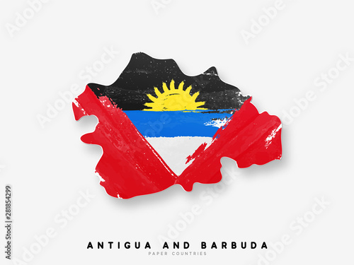 Antigua and Barbuda detailed map with flag of country Wallpaper Mural