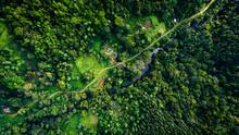 Ariel View Of A Border Village Adjoining Sinharaja Rain Forest Of Sri Lanka