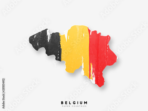 Canvas Print Belgium detailed map with flag of country