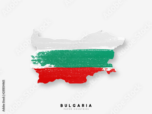 Photo Bulgaria detailed map with flag of country