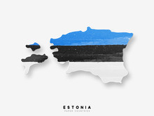 Estonia Detailed Map With Flag Of Country. Painted In Watercolor Paint Colors In The National Flag