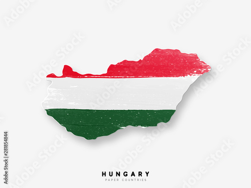 Fototapeta Hungary detailed map with flag of country