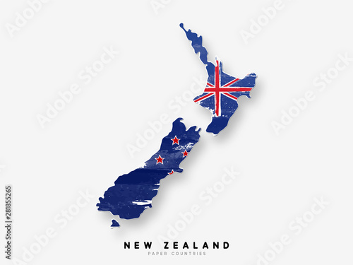 Fotomural New Zealand detailed map with flag of country