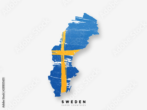 Fototapeta Sweden detailed map with flag of country