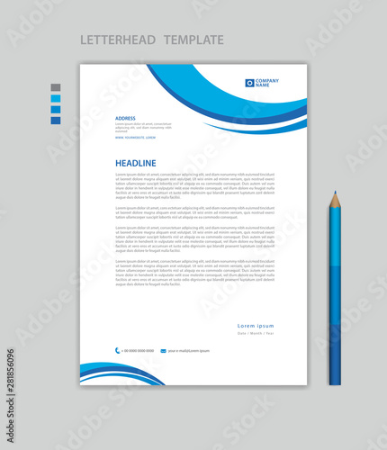 Fototapeta Letterhead template vector, minimalist style, printing design, business advertisement layout, Blue concept background obraz