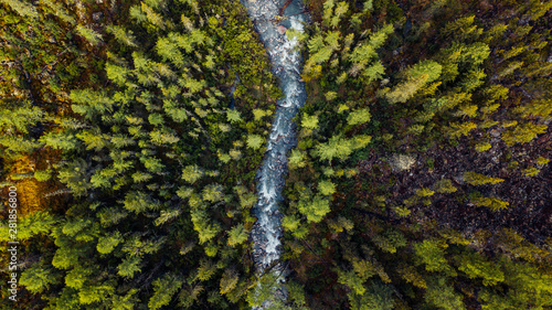 The mountain river from height of bird's flight Canvas Print