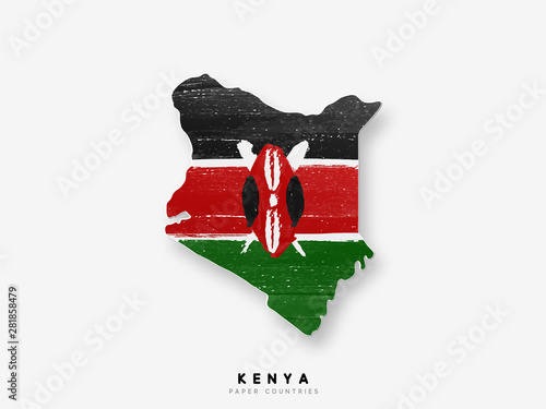 Photographie Kenya detailed map with flag of country