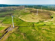 Aerial View Of Wind Turbines Generating Power, Located In Connemara Region, County Galway, Ireland