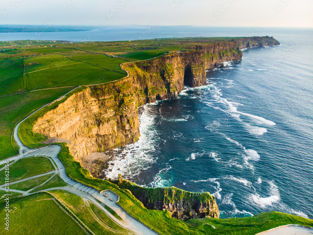Fototapety, obrazy: World famous Cliffs of Moher, one of the most popular tourist destinations in Ireland. Aerial view of known tourist attraction on Wild Atlantic Way in County Clare.