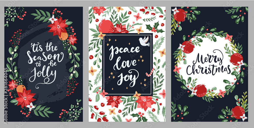 Fototapety, obrazy: Set of hand drawn Merry Christmas greeting cards with hand lettering typography words and floral branches and flowers. Modern scandinavian style in traditional colors