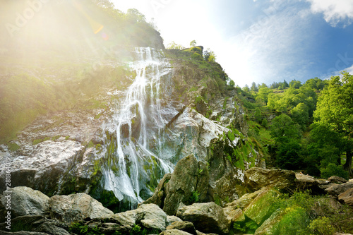 Canvas Prints Forest river Majestic water cascade of Powerscourt Waterfall, the highest waterfall in Ireland. Tourist atractions in co. Wicklow, Ireland.