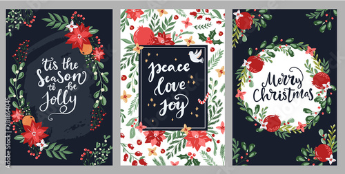 Set of hand drawn Merry Christmas greeting cards with hand lettering typography words and floral branches and flowers Canvas