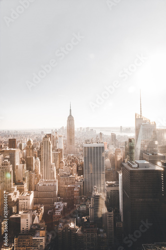 View of New York City Manhattan from skyscraper