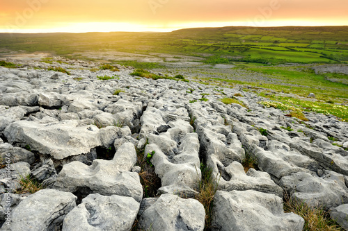Spectacular landscape of the Burren region of County Clare, Ireland Canvas Print