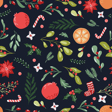 Merry Christmas Seamless Pattern In Traditional Colors With Vector Hand Drawn Illustration. Poinsettia Flowers,floral And Fir Branches On Repeated Background For Wrapping Paper, Fabric