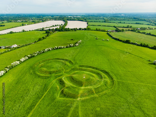 Obraz Aerial view of the Hill of Tara, an archaeological complex, containing a number of ancient monuments used as the seat of the High King of Ireland, County Meath, Ireland - fototapety do salonu