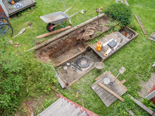 Repair Sewer Well At Home On The Back Yard.