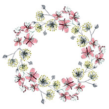 Pointelism Wreath Of Linden And Fireweed Flowers Using Markers