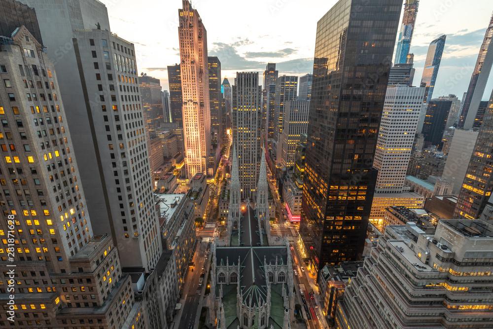 Fototapety, obrazy: New York City Manhattan midtown buildings skyline