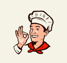 Smiling Chef Gesture Of Delici...