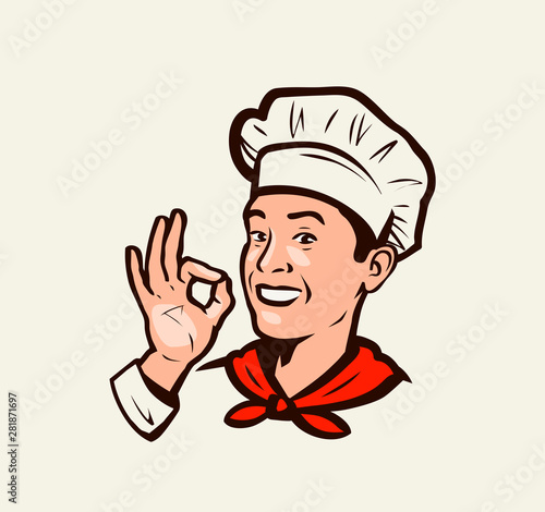 Fototapeta Smiling chef gesture of delicious. Menu, restaurant, food emblem. Vector illustration obraz