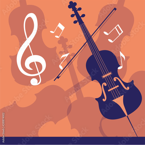 Canvas Print musical cello on note background