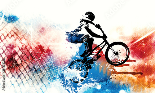 Sport illustration of bmx rider Wallpaper Mural