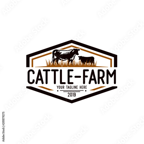 Tablou Canvas Cattle Farm Logo Design Stock Vector