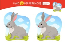 Find Differences.  Educational Game For Children. Cartoon Vector Illustration Of Cute Hare.