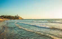 Tel Aviv Mediterranean Sea Sand Beach Waterfront Scenic Landscape Photography With Ancient City Jaffa Background Famous World Heritage Touristic Site, Copy Space