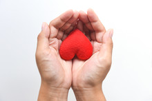 Heart On Hand For Philanthropy Concept - Woman Holding Red Heart In Hands For Valentines Day Or Donate Help Give Love Warmth Take Care