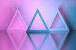 canvas print picture - Three triangles in a room over reflective mirror surface. 3d illustration.
