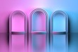 canvas print picture - Gradient pink blue interior scene with three round arches and podium over reflective mirror floor. 3d illustration.