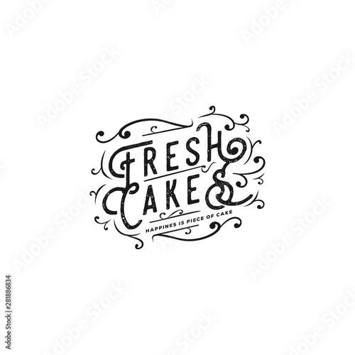 Spoed Fotobehang Halloween fresh cake vintage typography with swirls