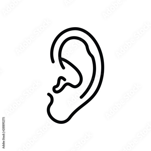 Valokuva  Black line icon for ear audible