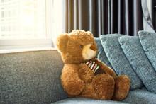 A Teddy Bear On Sofa In Living Room