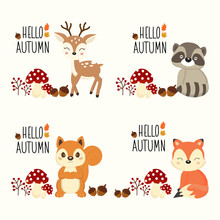 Vector Autumn Background With Cute Little Animals.