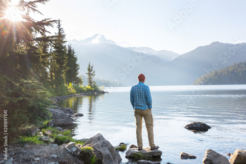 Canvas Prints Height scale Relaxing on mountain lake