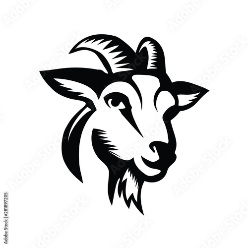 Photo head goat front view drawing art logo design inspiration