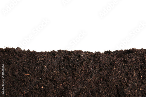 Fotografija Layer of fresh soil isolated on white. Gardening time