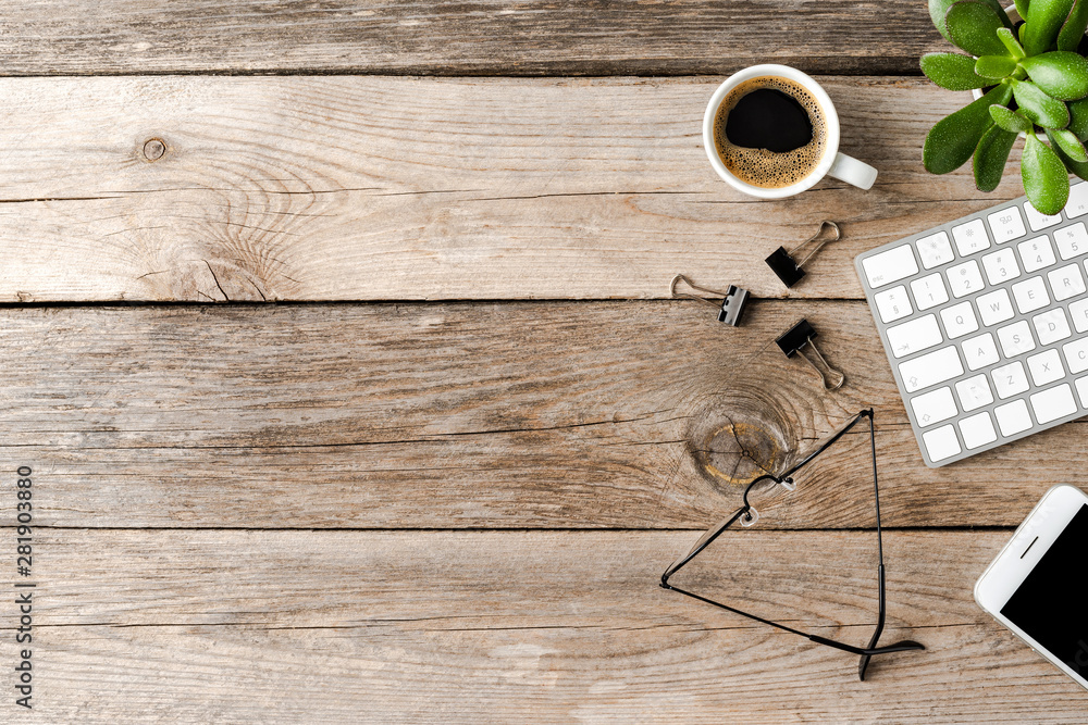 Fototapety, obrazy: Business workspace with accessories. Office desktop. Top view