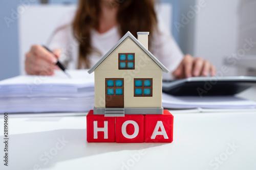 House Model Over HOA Blocks Over Desk In Office Canvas Print