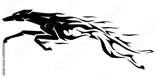 Greyhound Abstract Flame Body Leaping Fototapet