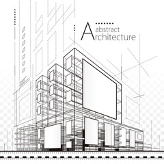 Architecture building construction urban 3D illustration design abstract background.