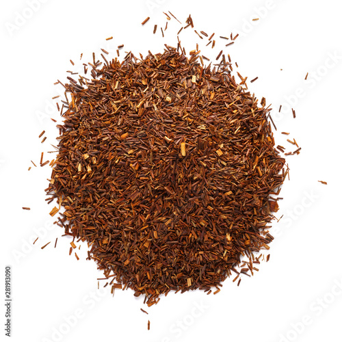 Obraz Heap of rooibos tea leaves isolated on white background. - fototapety do salonu