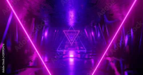 Photographie 3d render abstract background, neon light beam, flight forward through tunnel corridor of rocks, light shape, outer space