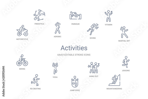 Fototapeta activities concept 14 outline icons obraz
