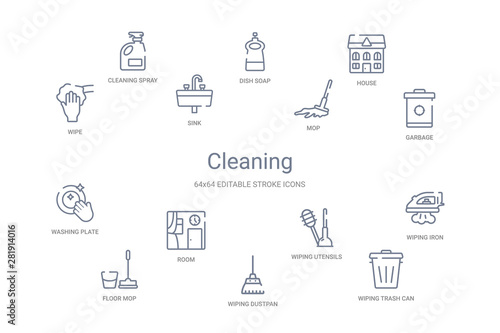 Fototapety, obrazy: cleaning concept 14 outline icons
