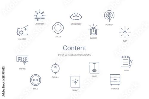 content concept 14 outline icons Canvas Print