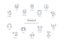 Greece Concept 14 Outline Icons